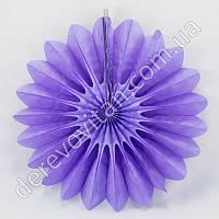 Подвесной веер, сиреневый, 30 см - бумажный декор-розетка