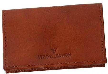 Шикарный кожаный футляр для карточек Vip Collection 14C NP коньячный