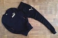 Утеплённый мужской Спортивный костюм черный Puma(с маленьким принтом)