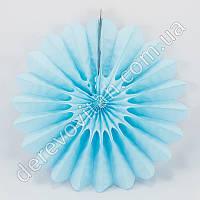 Подвесной веер, светло-голубой, 40 см - бумажный декор-розетка