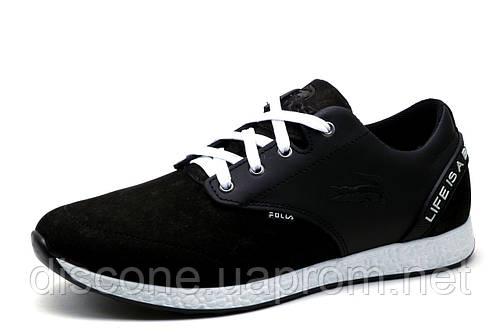 Туфли мужские спортивные Folla Crock, черные, кожа, р. 40 41