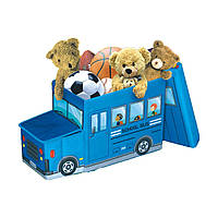 """Детский пуф (корзина для игрушек) """"Автобус синий"""""""