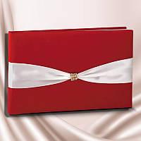 Книга пожеланий на свадьбу красного цвета с белой лентой