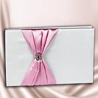 Свадебная книга для пожеланий с розовой лентой