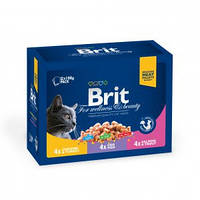 Brit Premium Cat Pouches Family Plate Poultry and Fish паучи для котов Семейная тарелка 4 вкуса, 1200г