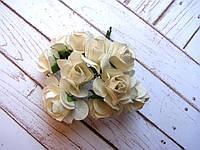 Букет бумажных роз, 12 шт, белые