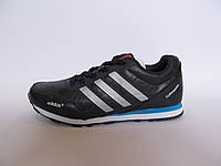 Кроссовки мужские Adidas кожаные, синие с белым (адидас)р.41,44,45