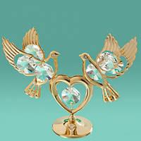 "Фигурка Swarovski ""2 голубя на сердце"" прозрачные кристаллы"