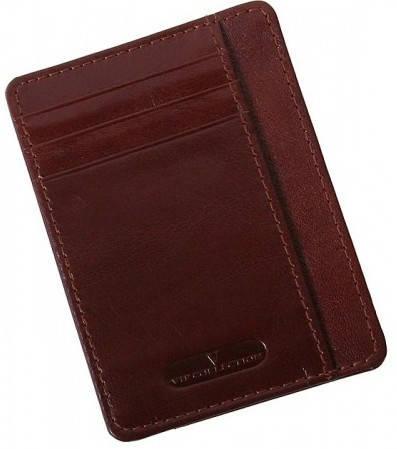 Современный кожаный картхолдер Vip Collection K22B NP коричневый