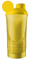 Шейкер для спортивного питания WAVE 600+350ML 3 отсека Power system желтый