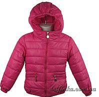Куртка удлиненная для девочек 1310   демисизонная 3-6 лет цвет малиновый