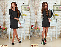 Модное чёрное замшевое платье с кружевом . Арт-5350/53