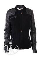 Черная кожаная куртка замшевая