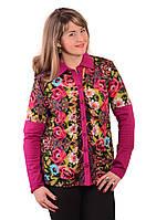 Трикотажная блуза теплая большие размеры , Бл 639.
