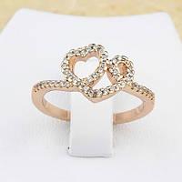 002-1200 - Нежное кольцо с прозрачными фианитами розовая позолота, 18 р.