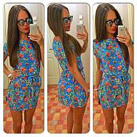Платье Креповое голубое