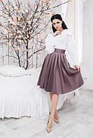 Модная белая шифоновая блузка  с длинным рукавом. Арт-5363/54