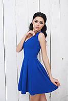 Модное синее платье с пышной юбкой и коротким рукавом. Арт-5369/54