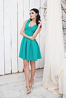 Модное бирюзовое платье с пышной юбкой и коротким рукавом. Арт-5369/54