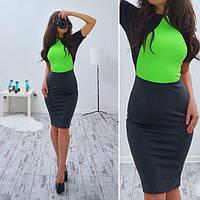 Платье-футляр модное стильное с цветной отделкой SMB129