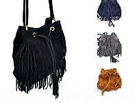 женская замшевая сумка с бахромой
