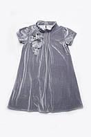 Бархатное платье для девочки серого цвета