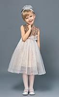 Нарядное детское платье для девочки с пайетками золотистое ( с ленточкой в наборе )