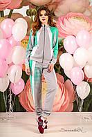 Стильный серый трикотажный женский спортивный костюм | Толстовка + Брюки
