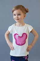 Нарядная детская белая футболка для девочки