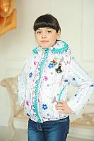 Детская весенняя куртка-жилет с принтом для девочки