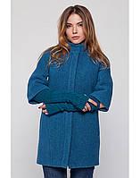 Женское  пальто из варенной шерсти с перчатками на весну-осень