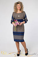 Женское приталенное платье до колен с узором   Большие размеры