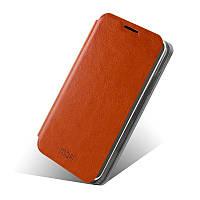 Кожаный чехол книжка Mofi для Lenovo A529 коричневый
