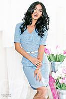 Легкое льняное женское платье в полоску с закругленным низом и карманами рукав короткий