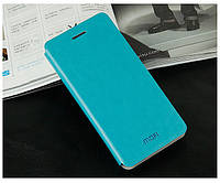 Кожаный чехол книжка Mofi для Lenovo A606 голубой