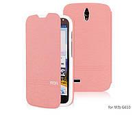 Кожаный чехол книжка Mofi для Huawei G610 C00 розовый