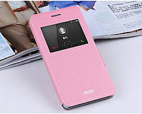 Кожаный чехол книжка Mofi для Huawei Honor 6 розовый
