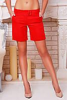 Длинные женские шорты из костюмной ткани красного цвета р.S,M,L