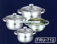 Набор кастрюль Frico FRU-712, 7 предметов 2,1 / 2,9 / 3,9 л. + пароварка