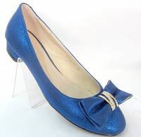 Синие женские балетки с бантиком