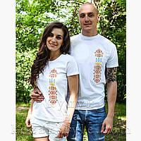 """Пара білих футболок  з вишивкою """"Тризуб з орнаментом"""" (жовто-червоний орнамент)"""