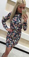 Джинсовое мини платье цветочный принт (арт. 1233055360)