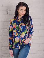Женская блуза с принтом и длинным рукавом
