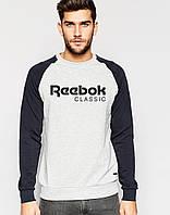 Мужской Свитшот (с начёсом) Reebok с черным рукавом