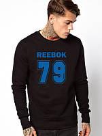 Мужской Свитшот (с начёсом) Reebok 79(синий принт)