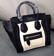 Женская сумка CELINE LUGGAGE HANDBAG черная белая