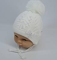 Красивая шапочка на завязках для девочки