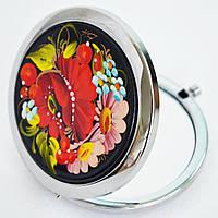 Карманное зеркальце Петриковская роспись. Букет с сиренью