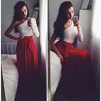 Длинное платье в пол Гипюр , масло
