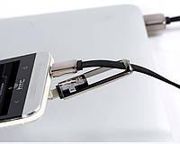 Оригинальный плоский кабель трансформер Remax / Ремакс USB для iPhone 5. 5S, 5C, 6, 6S, 6 + Micro USB